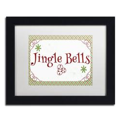 Trademark Fine Art 'Jingle Bells Banner' Framed' Textual Art on CanvasCanvas & Fabric in Brown/Green/Red, Size 13.0 H x 16.0 W x 0.75 D in   Wayfair