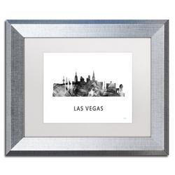 "Trademark Fine Art ""Las Vegas Nevada Skyline 2 WB-BW"" by Marlene Watson Framed Graphic ArtCanvas & Fabric in Black/Brown/White | Wayfair"