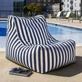 Jaxx Ponce Outdoor Small Outdoor Friendly Bean Bag Chair & Lounger Performance Fabric/Mildew Resistant/Fade Resistant/Water Resistant in Blue
