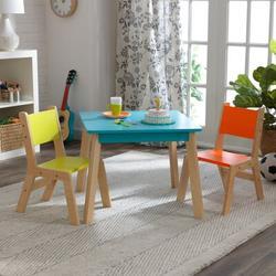 KidKraft Modern 3 Piece Play Table & Chair SetWood in Orange/Blue, Size 19.0 H x 23.5 W x 23.5 D in   Wayfair 26322