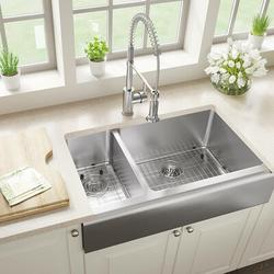 """MR Direct Stainless Steel 33"""" x 20"""" Double Basin Farmhouse/Apron Kitchen SinkStainless Steel in Gray, Size 10.0 H x 32.75 W x 20.0 D in 