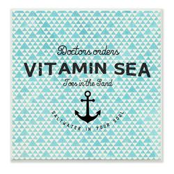 """Stupell Industries Vitamin Sea Saltwater in Your Soul w/ Anchor Graphic Art Wall Plaque, Wood in Brown/Blue/Black, Size Mini 10""""-17"""" 