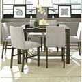 Red Barrel Studio® Aonna 7 Piece Dining Set Wood/Glass/Upholstered Chairs in Black/Brown/Gray, Size 36.0 H x 54.0 W x 54.0 D in | Wayfair