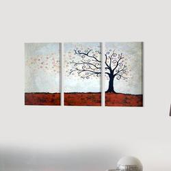 """Stupell Industries Tree in Autumn Triptych 3 Piece Graphic Art Wall Plaque Set, Wood in Red/Brown/Blue, Size Mini 10""""-17"""" Small 18""""-24""""   Wayfair"""