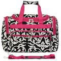 """World Traveler Damask 16"""" Shoulder Duffel, Nylon/Polyester in Pink, Size Less than 18"""" (X-Small) 