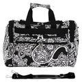 "World Traveler Paisley 16"" Shoulder Duffel, Nylon/Polyester in Black/White, Size Less than 18"" (X-Small) | Wayfair 81T16-640"