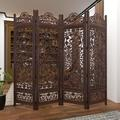 World Menagerie Rocade Screen 4 Panel Room Divider Wood in Black/Brown, Size 74.8 H x 80.0 W x 1.0 D in | Wayfair WRMG2260 41915979
