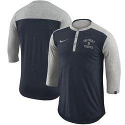 """Men's Nike Navy Detroit Tigers Flux Performance Henley 3/4-Sleeve T-Shirt"""