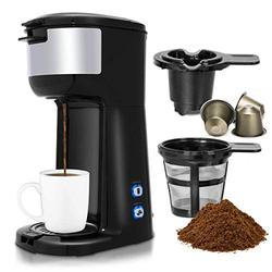 COSTWAY Coffee Maker, 1000W Portable Auto Shut off 2-in-1 Coffee Maker, Single Cup Coffee Brewer Built-in Filter, Thermal Drip Instant Coffee Machine, Ground Coffee and Coffee Capsules Machine, Black