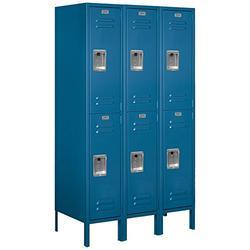 Salsbury Industries Assembled 2-Tier Standard Metal Locker with Three Wide Storage Units, 5-Feet High by 18-Inch Deep, Blue