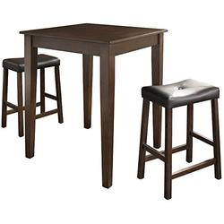 Crosley Furniture 3-Piece Pub Set with Tapered Leg Table and Upholstered Saddle Stools, Vintage Mahogany