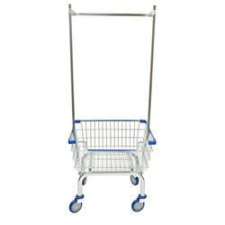 CART&SUPPLY Coin Laundry Cart, [Heavy Duty] [Rolling Cart] Laundry Cart (Chrome Double Pole Rack/Blue)
