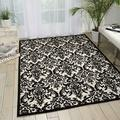 Nourison Damask Contemporary Area Rug, 8 Feet by 10 Feet (8' x 10'), Black/White