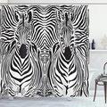 "Ambesonne Zebra Print Shower Curtain, Illustration Pattern Zebras Skins Background Blended Over Zebra Body Heads, Cloth Fabric Bathroom Decor Set with Hooks, 75"" Long, Black White"