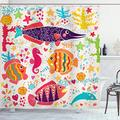 "Ambesonne Sea Animals Shower Curtain, Cartoon Art with Fish Seahorse Starfish Dolphin Coral Underwater Life Kids, Cloth Fabric Bathroom Decor Set with Hooks, 84"" Long Extra, Beige Pink"