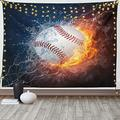 """Ambesonne Sports Tapestry, Baseball Ball and Water Splashing Thunder Creative Art Themed Print, Wide Wall Hanging for Bedroom Living Room Dorm, 60"""" X 40"""", Dark Blue and Burgundy"""
