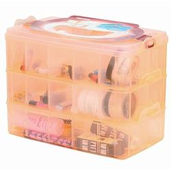 DJUNXYAN 3-Tier 30 Sections Transparent Stackable Adjustable Compartment Slot Plastic Craft Storage Box Organizer for Toy Desktop Jewelry Accessory Drawer Or Kitchen 4 Colors 3 Sizes(Large Orange)