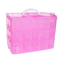 DJUNXYAN 3-Tier 30 Sections Transparent Stackable Adjustable Compartment Slot Plastic Craft Storage Box Organizer For Toy Desktop Jewelry Accessory Drawer Or Kitchen 4 Colors 3 Sizes(Extre large Pink)