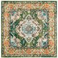 Safavieh Monaco Collection MNC243F Boho Chic Medallion Distressed Non-Shedding Living Room Bedroom Area Rug, 5' x 5' Square, Forest Green / Light Blue