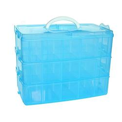 DJUNXYAN 3-Tier 30 Sections Transparent Stackable Adjustable Compartment Slot Plastic Craft Storage Box Organizer For Toy Desktop Jewelry Accessory Drawer Or Kitchen 4 Colors 3 Sizes(Extre large Blue)