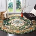 """Safavieh Monaco Collection MNC243F Boho Chic Medallion Distressed Non-Shedding Stain Resistant Living Room Bedroom Area Rug, 6'7"""" x 6'7"""" Round, Forest Green / Light Blue"""