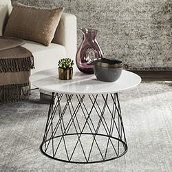 Safavieh FOX4245C Home Collection Roper Retro Mid-Century White and Black Wood End Table