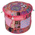 Stylo Culture Patchwork Ottoman Pouffe Case Embroidered Indian Ethnic Cotton Stool Pouf Cover Pink Floral Furniture Tuffet Seat 45 cm Footstool Floor Cushion Decor Bean Bag Living Room