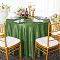 Wedding Linens Inc. 120 inch Round Crinkle Crushed Taffeta Tablecloths, Round Table Cover Linens for Round Banquet Tables - Clover