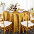 Wedding Linens Inc. 120 inch Round Crinkle Crushed Taffeta Tablecloths, Round Table Cover Linens for Round Banquet Tables - Gold
