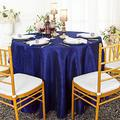 Wedding Linens Inc. 108 inch Round Crinkle Crushed Taffeta Tablecloths, Round Table Cover Linens for Round Banquet Tables - Navy Blue