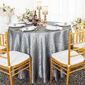 Wedding Linens Inc. 90 inch Round Crinkle Crushed Taffeta Tablecloths, Round Table Cover Linens for Round Banquet Tables - Silver