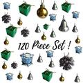 """BANBERRY DESIGNS Small Christmas Ornaments - Set of 120 Small Tree Decorations - Silver, Gold and Green Miniature Balls, Pine Cones, Bells, Packages and Drums - Approx. 1 1/2"""""""