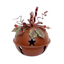 """Rustic Metal Hanging Jingle Bell Decoration 11"""" H, Rustic Cut-Outs Star Metal Christmas Jingle Bell Ornament ,Metal Ribbon Festive Rustic Jingle Bell Christmas Tree Sled Tabletop Decoration (Medium)"""