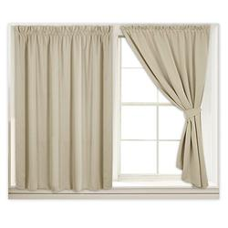 """RYB HOME Blackout Window Shades for Bedroom Curtains, Cost Saving Curtains Self-Adhesive Wall Panels, Give Ropes & Strap for Bedroom/Nursery, 40"""" Wide by 45"""" Long, Cream Beige, 1 Pair"""