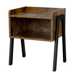 Topeakmart Industrial End Table Stackable Accent Table with Storage Shlef, 2 Tier Side Table with Drawer, Wood & Metal Frame, Rustic Brown