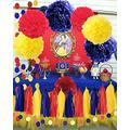 Qian's Party Snow White Birthday Party Decorations Yellow Navy Red Snow White Princess Birthday Party Decorations/Princess Red and Royal Blue Birthday Backdrop/Transportation Birthday Decor