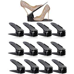 Shoe Slots Organizer, BASHUO Home Double Layer Shoe Slots Organizer-Space Saver Rack Holder for Shoes Adjustable Space Saver Storage Rack Holder(12-Pack Black)