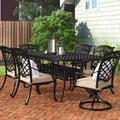 Fleur De Lis Living Britt 7 Piece Sunbrella Dining Set w/ Cushions Metal in Brown, Size 29.0 H x 86.0 W x 42.0 D in | Wayfair