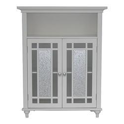 Alcott Hill Two Door Bathroom Storage Floor Cabinet - Home Wooden Cabinet Floor Storage Furniture - Bathroom Laundry Open Shelves Cabinet with Glass Doors Organizer (White)