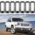 AVOMAR 7PCS Front Grill Cover Mesh Grille Insert Kit Compatible for 2011-2016 Jeep Patriot (Black 7PCS Insert)
