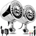 "GoHawk AS5-X Gen.3 All-in-One 600W Built-in Amplifier 5"" Full Range Waterproof Bluetooth Motorcycle Stereo Speakers Audio Amp System, 1 to 1-1/4"" Ape-Hanger Handlebar Harley Custom Touring Cruiser"