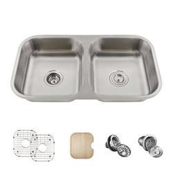 "MR Direct Single Bowl Stainless Steel 32"" x 18"" Undermount Kitchen Sink w/ Additional AccessoriesStainless Steel in Gray   Wayfair ADA3218A-ENS"