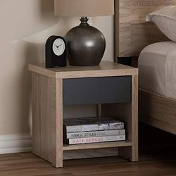 Baxton Studio Jamie Modern and Contemporary Two-Tone Oak and Grey Wood 1-Drawer 1-Shelf Nightstand Contemporary/Light Brown/Gray/Particle Board/MDF with PU Paper/