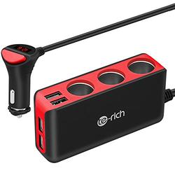 Te-Rich 3-Socket Cigarette Lighter Power Adapter DC Outlet Splitter 6.8A 4 Port USB Car Charger for Cell Phones, Dash Cam, GPS and More (Red)