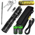 Nitecore MH12 CREE XM-L2 U2 LED 1000 Lumen USB Rechargeable Flashlight, 18650 rechargeable Li-ion battery, True Utility TU246 telescopic keychain pen, standard USB charging cable and Holster with 2 X EdisonBright CR123A lithium Batteries