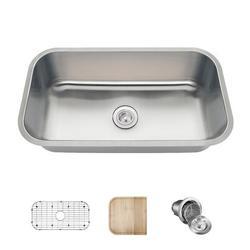 "MR Direct Stainless Steel 32"" x 18"" Undermount Kitchen Sink w/ Additional Accessories, Stainless Steel in Brushed Stainless Steel/Stainless Steel"