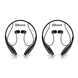 Pack Of Two (2) AMERIQUE BoldSound 4TH Generation Wireless 4.1 Bluetooth Neckband Headphones, Professional Bluetooth Headset, Water Resistant with Noise Cancelling Tech, Bulit-in Mic, Enhanced Bass