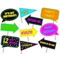 Birthday party photo booth props. Neon party. Glow in the dark party theme props. 10 props ready to use.