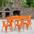 """Flash Furniture Commercial Grade 31.5"""" x 63"""" Rectangular Orange Metal Indoor-Outdoor Table Set with 6 Arm Chairs"""