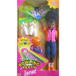 Barbie Bowling Party JANET Doll AA w Bowling Pins, Bowling Ball & More! (1998)